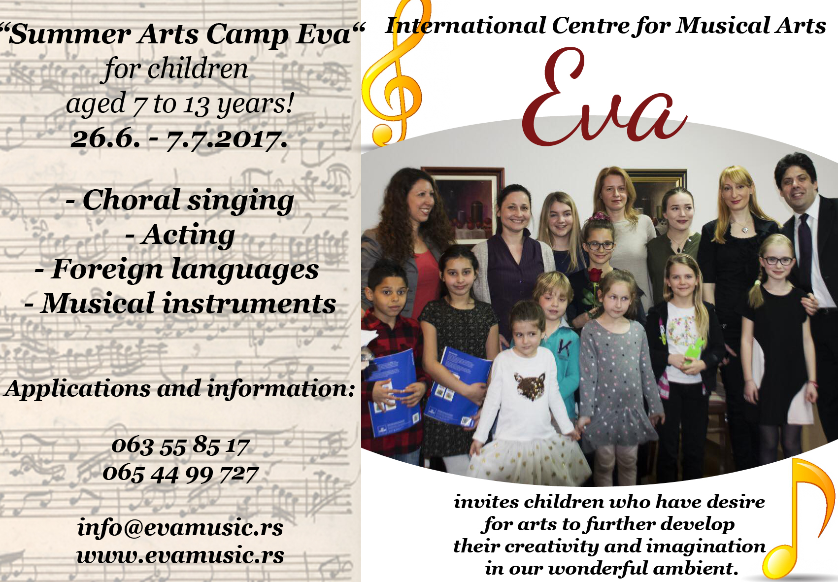 "Welcome to ""Summer Arts Camp Eva""!"