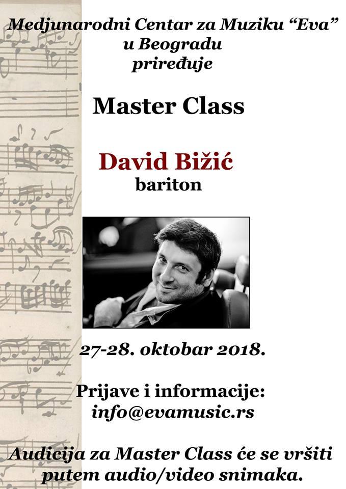 Master Class baritona Davida Bižića 28. i 29. oktobra
