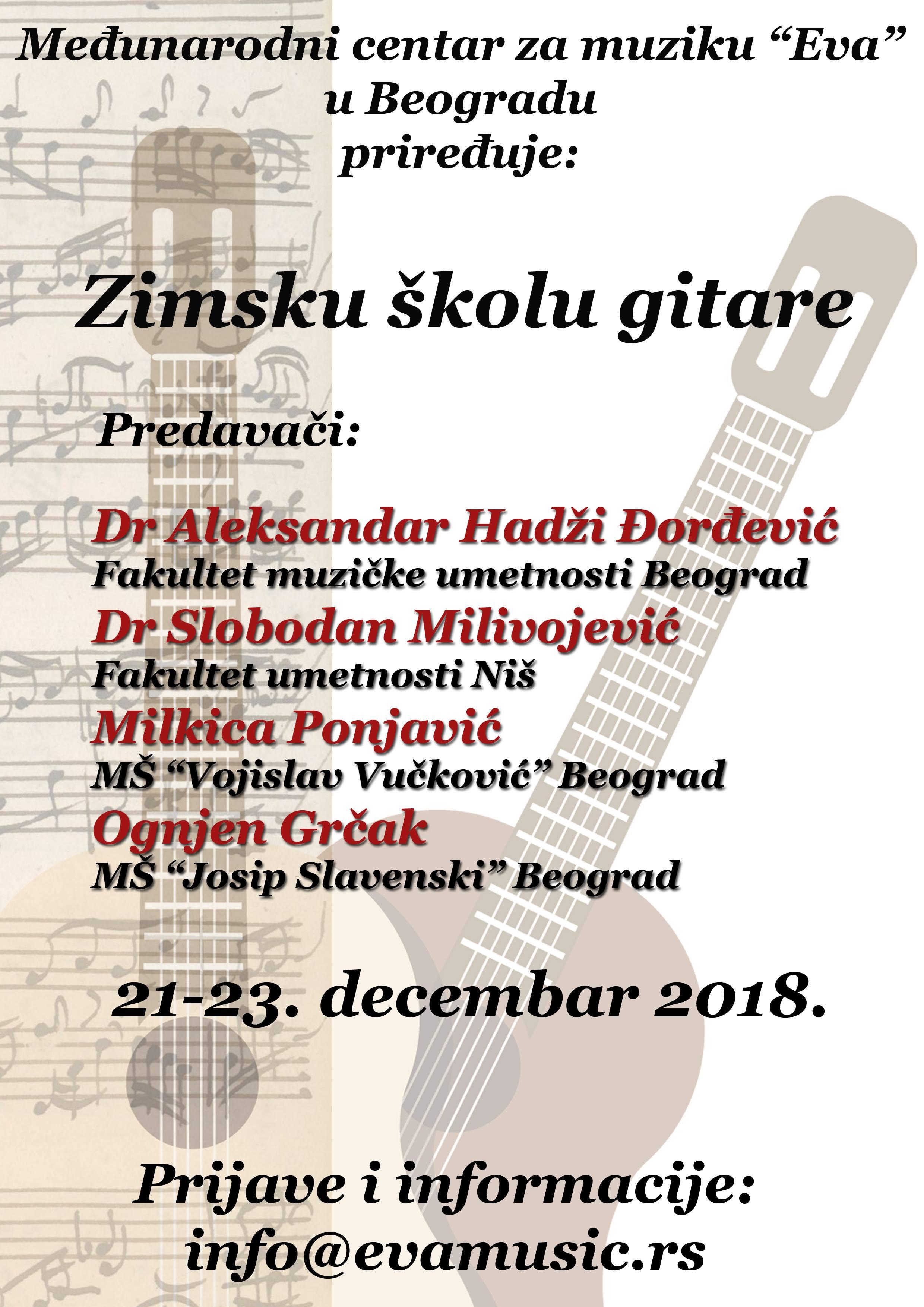 Zimska škola gitare od 21. do 23. decembra