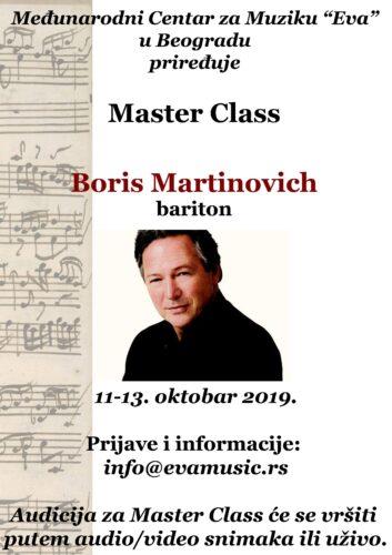 Masterclass Boris Martinović, bariton, 11-13. oktobar 2019.