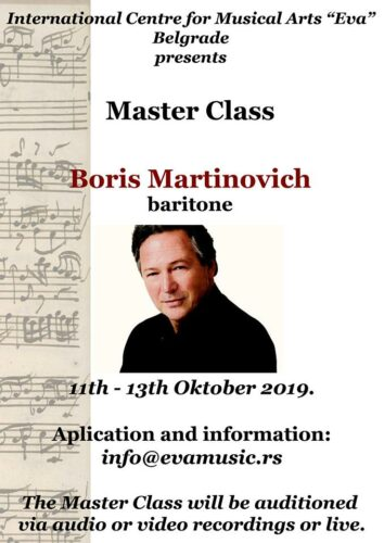 Masterclass Boris Martinovich, baritone, 11th - 13th October 2019.