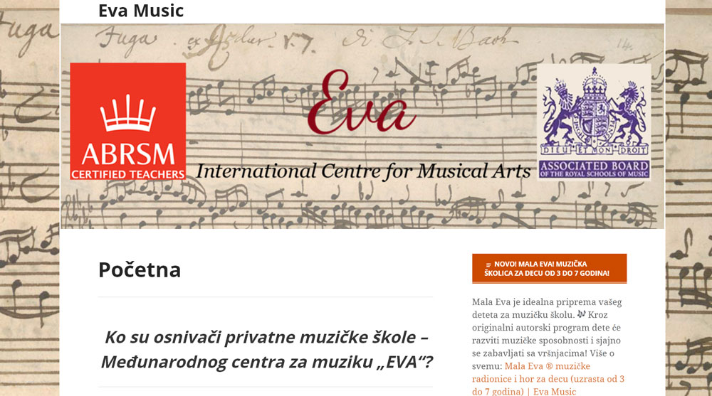 Početna stranica sajta muzičke škole Eva Music