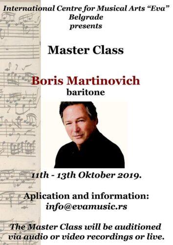 Masterclass Boris Martinovich, baritone, 11th - 13th October 2019.