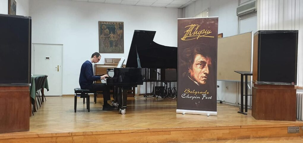 """Marko Simić, student """"EVA"""" muzičke škole na Fakultetu muzičkih umetnosti"""