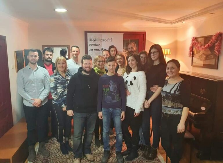 Participants with their teacher -  doctor of jazz piano Dimitrije Vasiljevic on his master class